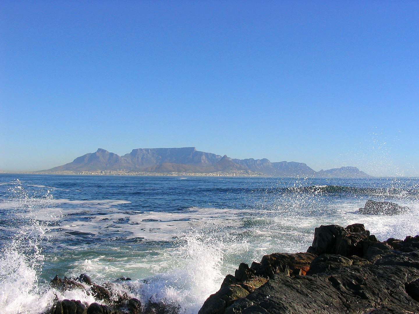 Robben island coast with a view of Table Mountain