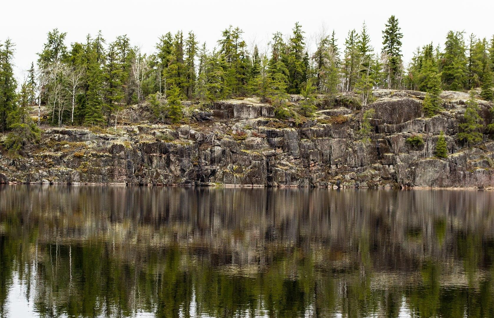 Rock wall at Woodland Caribou Provincial Park
