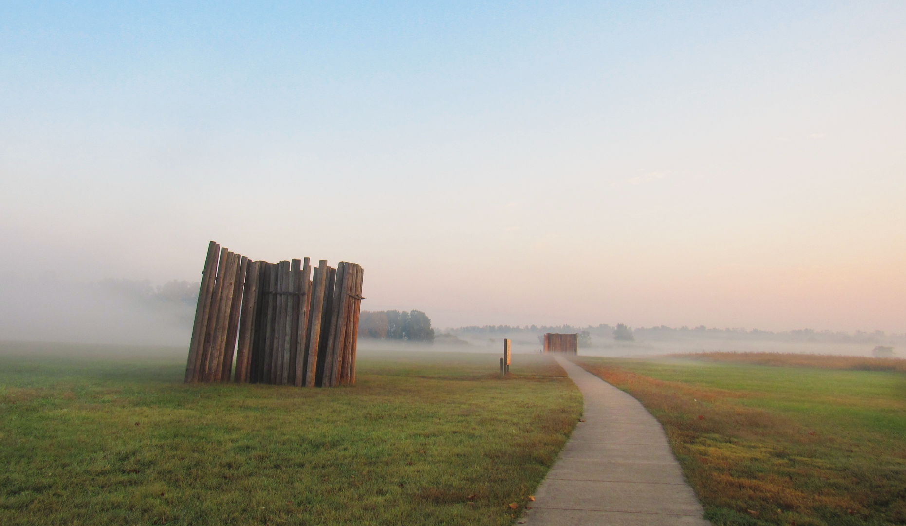 A reconstructed section of wall to the east of Monks Mound, Cahokia