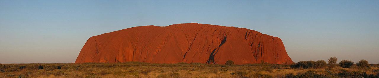 Panorama of Uluru around sunset