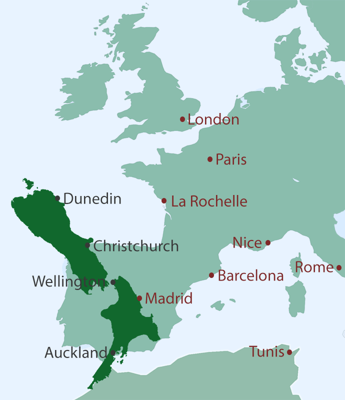 Position of New Zealand when flipped to the Northern Hemisphere